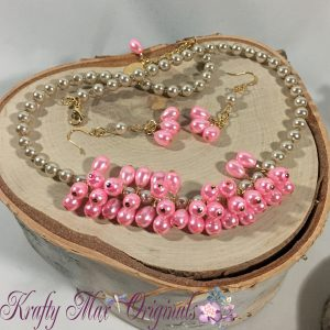 Pink Pearls and Champagne Necklace set 1
