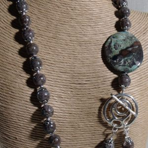 Brown and Green Gemstone with Silver Plated Findings Necklace Set