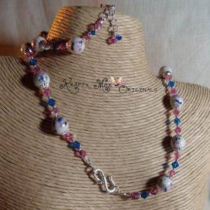 Pink Ceramic Ribbon – Swarovski Crystals and Swarovski Pearls Necklace
