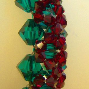Christmas Poinsettia Hand Woven Swarovski Crystal Bracelet