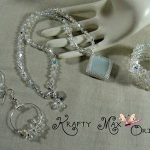 Glow in the Dark Beadwoven Swarovski Crystal 3 Piece Necklace Set
