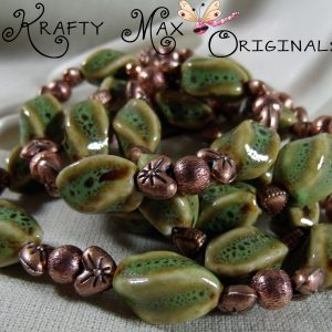 Green Ceramic and Beautiful Copper Necklace Set