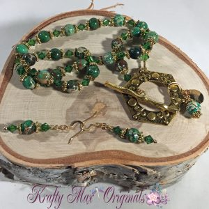 green magnesite and gold set 1