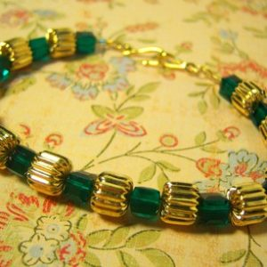 Green Cubed Swarovski Crystal and Gold Bracelet