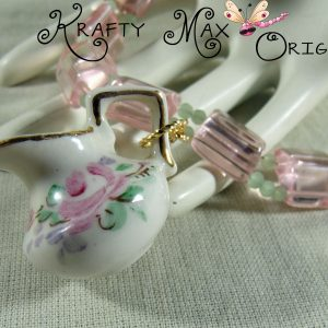 Pink and Green Glass Mini Ceramic Pitcher Necklace