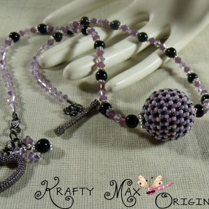 Purple and Black Swarovski Crystal and Blackstone Necklace Set