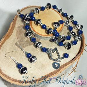 Blue on Blue necklce set 1