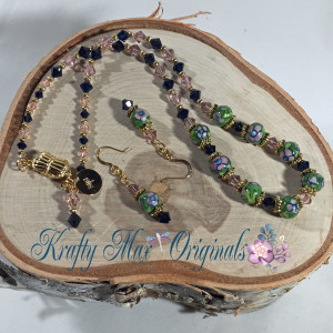 Pink Green and Blue Necklace Set 1