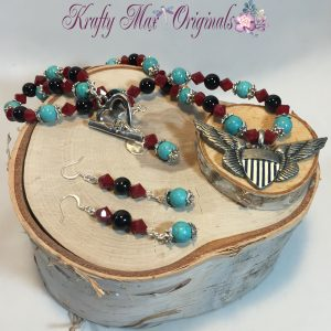 Red and Turquoise Eagle Wings Necklace Set 4