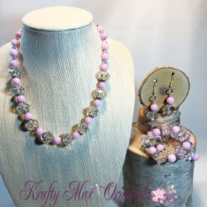Asfour Crystal with Rose Quartz Pure Elegant Sparkle Necklace 3 Piece Set