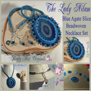 The Lady Nilam Blue Agate Slice Necklace Set
