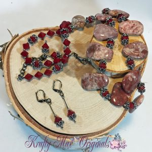 Red Tiger Jasper and Swarovski Crystals Necklace Set