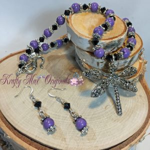 purple and black dragonfly necklace set 1