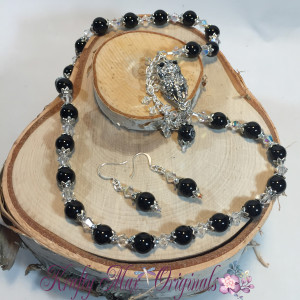 Black Onyx and Crystal OWL necklace set 1