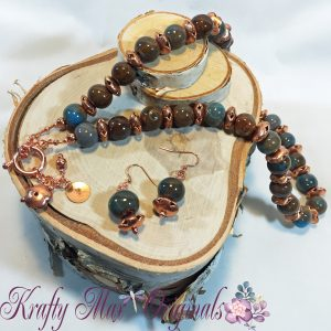 Blue and Brown Ceramic and Copper Necklace Set 1