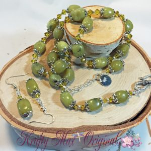 Lime Chalk Turquoise Necklace set 1