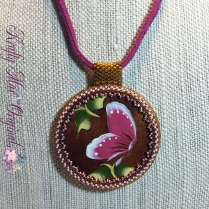 Wood Pink Butterfly Necklace 1
