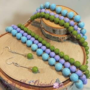 blue urple green strand necklace set 2
