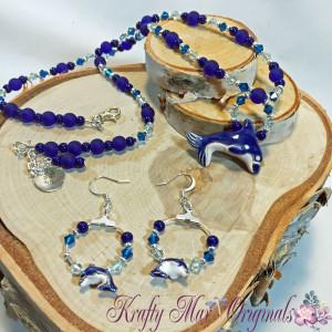 dolphin blue necklace set 1