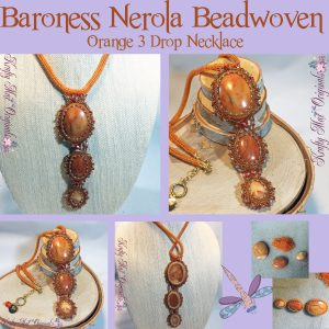 Baroness Nerola Beadwoven Orange 3 Drop Necklace