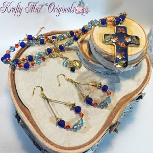 Blue Cloisonné Cross Necklace Set 3