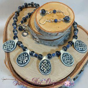 Celtic Bone Blue Necklace Set 1