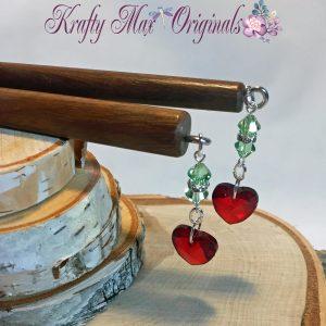 Red Heart and Green Swarovski Crystal Hair Pick/Sticks