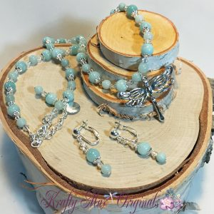 Amazonite and Swarovski Crystal Dragonfly Necklace Set