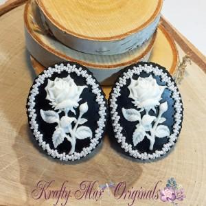 Black and White Rose Cameo Earrings 2