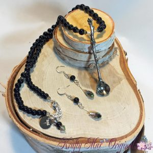 Black and Grey with Handmade Spoon Necklace Set