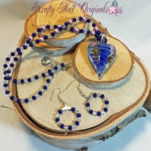 Blue and Rose Colored Glass Heart Necklace Set 1
