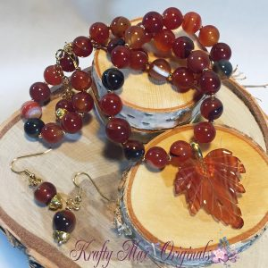 Carnelian Leaf and Red Agate Necklace Set 1