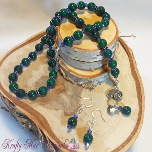 Green and Blue Ceramic and Swarovski Crystal Necklace Set 1