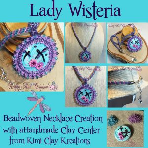 Lady Wisteria - Beadwoven Necklace Creation with a Handmade Clay Center from Kimi Clay Kreations