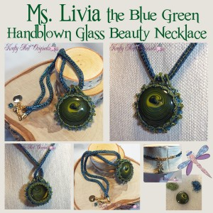 Ms Livia the Blue Green Handblown Glass Beauty Necklace