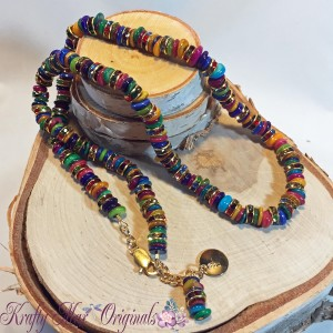 Rainbow shell and spacers necklace 1