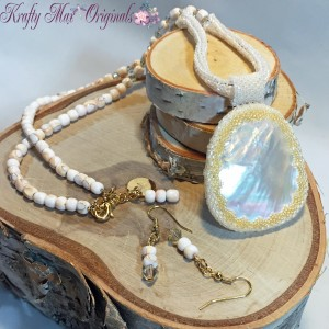 The Lady Fairlee - Ivory and Yellow Shell Beadwoven Necklace Set 1