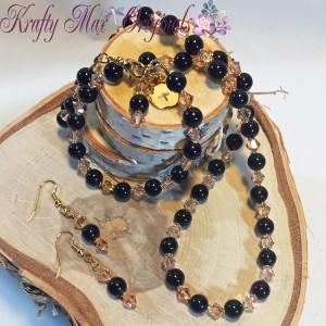black onyx and peach swarovski crystals set 1