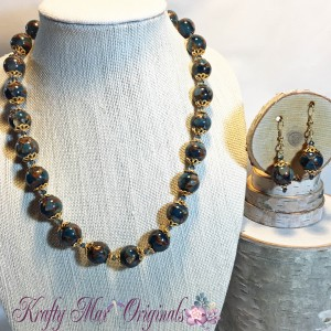 Fine Blue Copper Turquoise and Swarovski Crystal and Gold Necklace Set 2