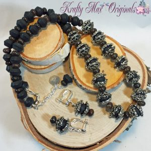 Black Matte Onyx and Pure Beauty Statement Necklace Set