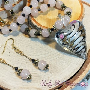 Pink Quartz and Glass Heart with Gold Necklace Set 3