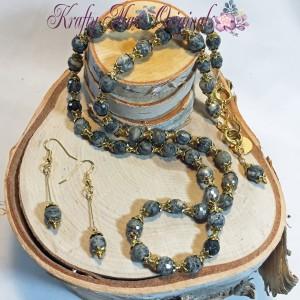 Spiderweb Jasper Grey and Gold Necklace Set 1