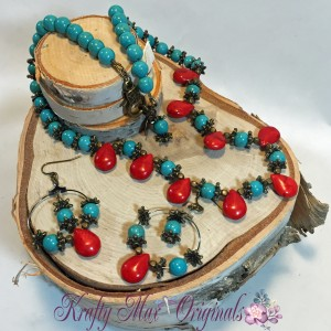 Turq Magnesite and Red Coral Drops Necklace Set 1