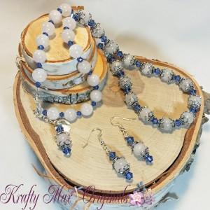 White Jade and Blue Swarovski Crystals Necklace Set 1