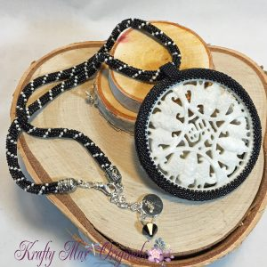 Black and White Stone Round Beadwoven Necklace 1