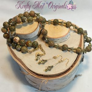 Brown-Green Jasper, Swarovski Crystals and Gold Plated Findings Necklace Set