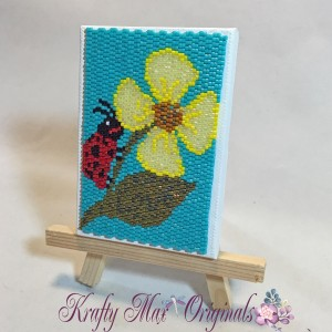 Lady Bug and Flower ACEO Mini Artwork 1