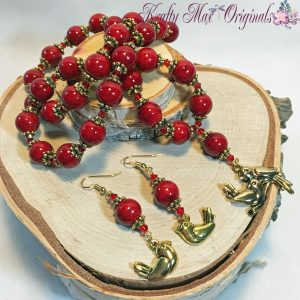 Red Magnesite and Gold Birds Necklace Set 1
