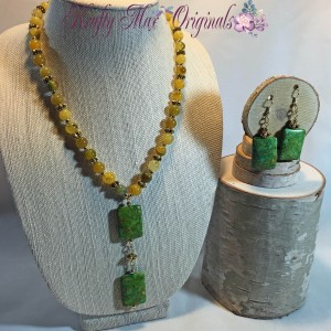 Yellow and Green Square Gemstone Necklace Set 1