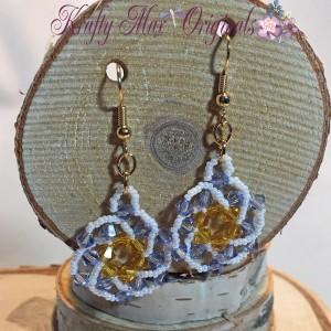 yellow and purple beadwoven earrings 2